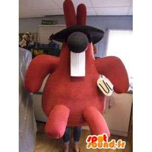 Coniglio mascotte rosso con grandi denti, quanto grande peluche