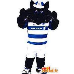 Czarny kot maskotka w kolorze niebieskim i białym stroju sportowego