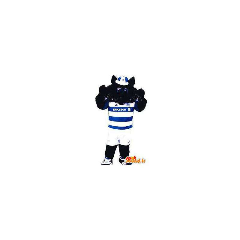 Black cat mascot in sports clothes blue and white - MASFR004857 - Cat mascots