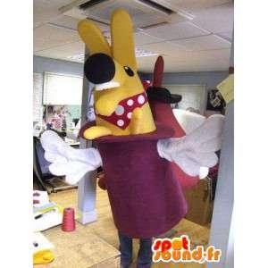 Mascotte de lapin jaune dans un chapeau violet - MASFR004862 - Mascotte de lapins