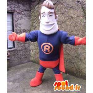 Mascot superhéroe vestido de azul y rojo - MASFR004863 - Mascota de superhéroe