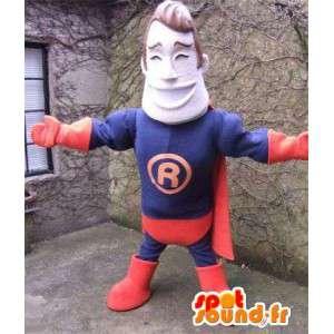 Superhjälte maskot klädd i blått och rött - Spotsound maskot