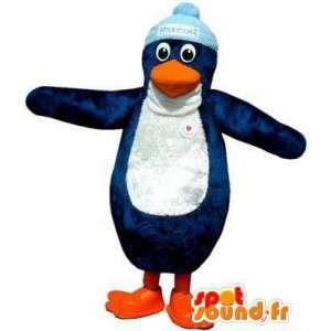 キャップ付きの青と白のペンギンのマスコット-MASFR004864-ペンギンのマスコット