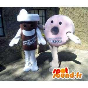 Mascotes Donuts rosa e copo de café. Pack of 2