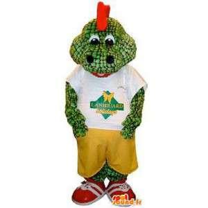 Maskot leguán zelený ještěr červená hřeben
