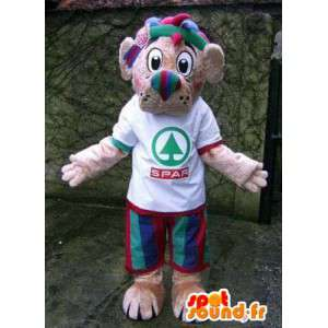 Mascot dog green red and blue with a white t-shirt - MASFR004874 - Dog mascots