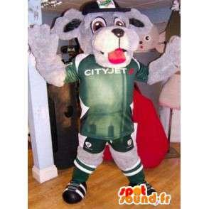 Harmaa koira maskotti pukeutunut vihreään urheilu - MASFR004875 - koira Maskotteja