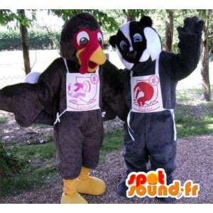 Mascots turkey and raccoon black and white. Pack of 2