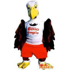 Sęp gigant maskotka biała koszula i czerwone spodenki - MASFR004880 - ptaki Mascot