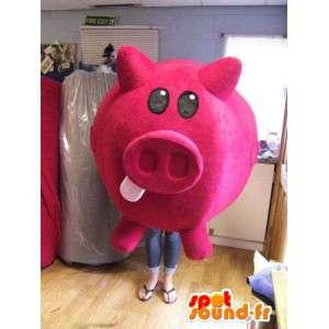 Rosa Schwein Maskottchen rundum.Kostüm Sparschwein - MASFR004881 - Maskottchen Schwein