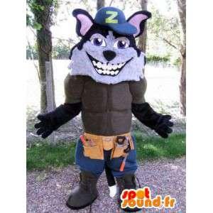 Lobo mascote vestido como um operário. Terno musculoso lobo