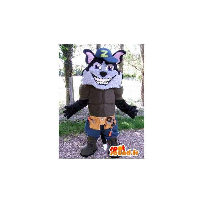 Wolf-Maskottchen verkleidet Arbeiter.Muskulös Wolf Anzug - MASFR004882 - Maskottchen-Wolf