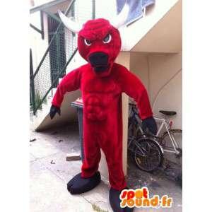 Mascot toro rosso e nero, con le corna bianche