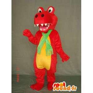Mascot drago dinosauro rosso e giallo