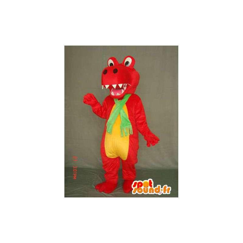 Smok maskotka / czerwony i żółty dinozaur - MASFR004894 - smok Mascot