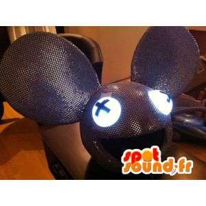 Mascot grijs lovertjes muis hoofd, reuze