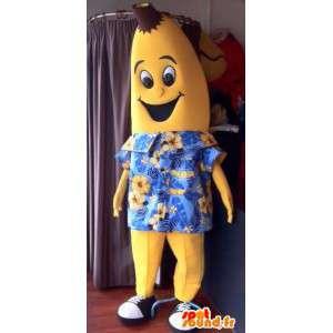 Mascotte de banane jaune, géante en chemise hawaïenne