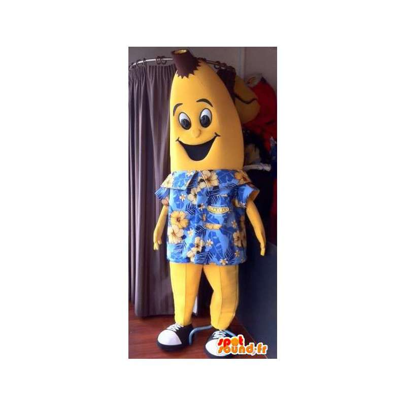 Mascot yellow banana, giant Hawaiian shirt - MASFR004896 - Fruit mascot