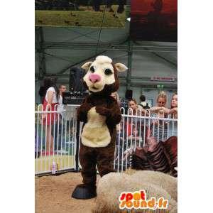 Maskotti beigen ja ruskean lehmän. lehmän puku - MASFR004902 - lehmä Maskotteja