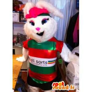 Mascotte de lapine blanche en tenue de sport