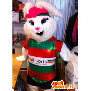 White rabbit mascot in sports outfit