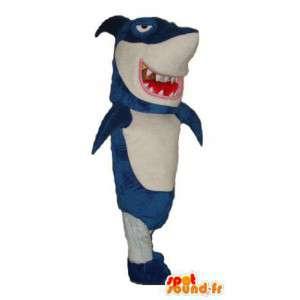 青と白のサメのマスコット。巨大なサメのコスチューム-MASFR004414-サメのマスコット