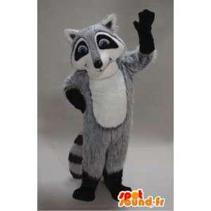 Mascota mapache gris, blanco y negro