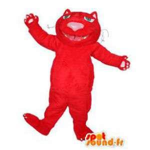 κόκκινο μασκότ βελούδου γάτα. κόκκινο κοστούμι γάτα