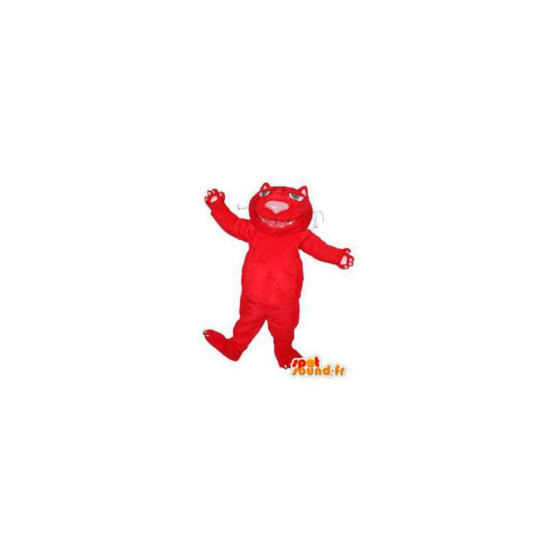Mascotte de chat rouge en peluche. Costume de chat rouge - MASFR004434 - Mascottes de chat