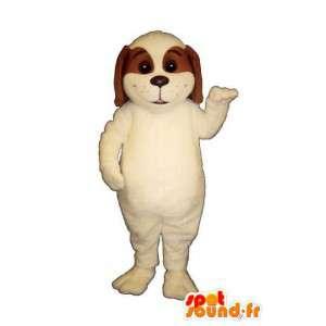 Valkoinen ja ruskea koira maskotti. koira Costume - MASFR004464 - koira Maskotteja