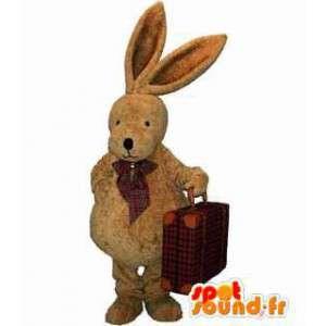 Mascot braunen Stoffhasen mit Schmetterling Knoten - MASFR004474 - Hase Maskottchen