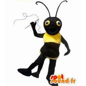 Muurahainen maskotti, musta ja keltainen hyönteinen. hyönteisten Costume