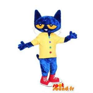 Mascote do gato azul vestida de amarelo e vermelho