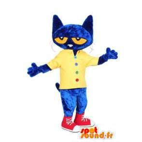 Mascotte de chat bleu habillé en jaune et rouge - MASFR004482 - Mascottes de chat