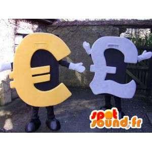 Maskoter formet euro og britiske pund. Pakke med 2 - MASFR004799 - Maskoter gjenstander