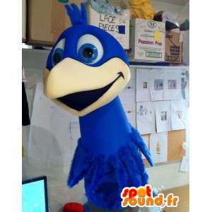 Mascotte d'oiseau géant bleu. Costume d'oiseau