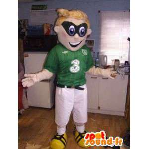 Groene en witte sport mascotte met een zwart masker - MASFR004919 - sporten mascotte