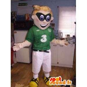 Mascot grün und weiß mit einer schwarzen Maske Sport - MASFR004919 - Sport-Maskottchen