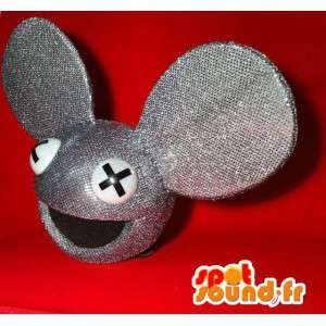 Mascot head mouse gray sequins, giant size - MASFR004920 - Heads of mascots