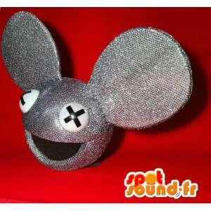 Mascotte de tête de souris grise à paillettes, de taille géante