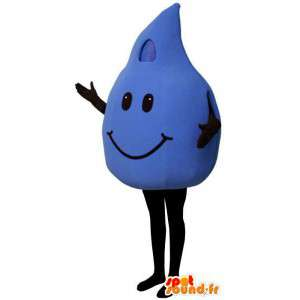 Kostuum wat neerkomt op een blauwe drop - druppel mascotte