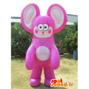 Giant μασκότ αντιπροσωπεύουν ένα ροζ και μπεζ χαρακτήρα γάτα