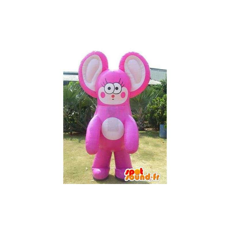 Mascotte géante représentant un personnage de chat rose et beige - MASFR004970 - Mascottes de chat