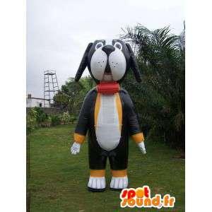 Black white dog in inflatable mascot - MASFR004976 - Dog mascots
