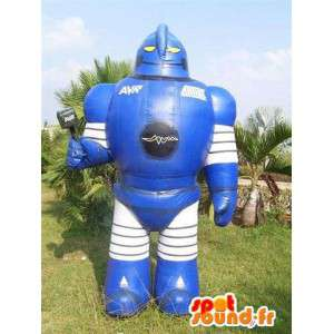 Riesen-Roboter-Maskottchen blau weiß und schwarz - MASFR004977 - Maskottchen der Roboter