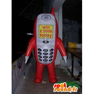 Cell phone red, white and yellow mascot - MASFR004993 - Mascottes de téléphone