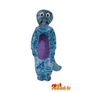 Mascotte de personnage animal de couleur violette et noire
