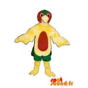 Amarelo traje pássaro vermelho e verde