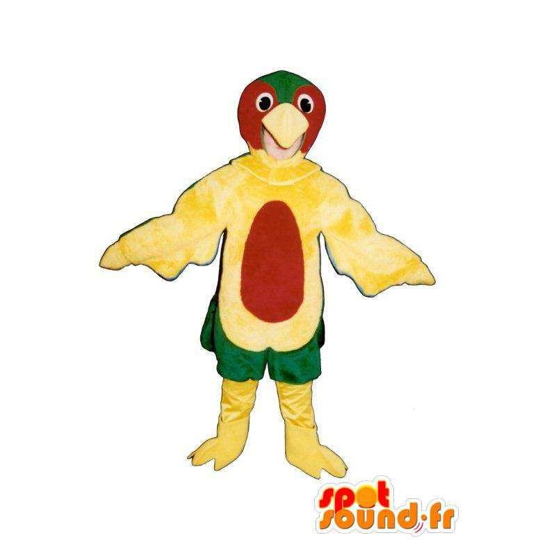 Keltainen punainen ja vihreä lintu puku - MASFR005029 - maskotti lintuja