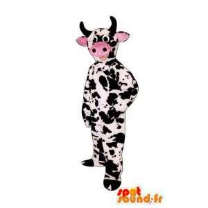 ピンクの鼻と白い牛のマスコットと黒のテディ